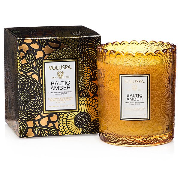 Voluspa Baltic Amber Boxed Scallop Candle Candle Delirium
