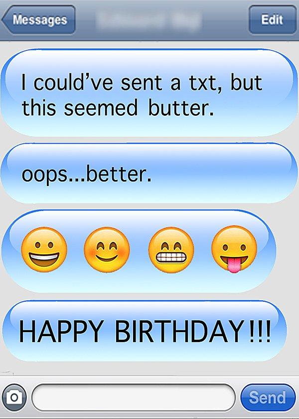happy birthday emoji message